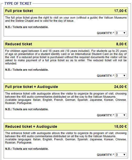 Выбор типа билетов на официальном сайте Ватиканских музеев